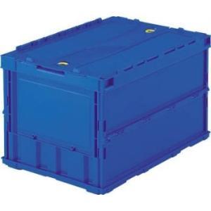 折りたたみコンテナ ボックス 収納 トラスコ ロックフタ付 薄型 50L ブルー TR-C50B|youbetsuen-y