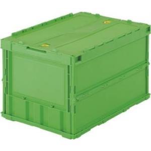 折りたたみコンテナ ボックス 収納 トラスコ ロックフタ付 薄型 50L グリーン (2個セット) TR-C50B youbetsuen-y