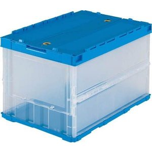 折りたたみコンテナ ボックス 収納 トラスコ ロックフタ付 薄型 50L 透明 TR-C50B (3個セット) TR-C50B youbetsuen-y