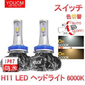 日産 セレナ H28.8〜 C27 ハイウェイスター ロービーム 超小型MINI 3色 LEDヘッドライト H8/H11 ハイパワーLED 6000K/3000K/4300K 12v専用 [YOUCM][1年保証]|youcm