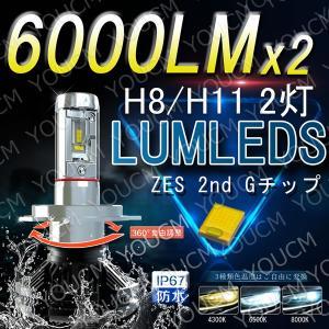 [車検対応]ZESチップ LEDヘッドライト H8/H11 オールインワン一体型 6000LmX2 細い発光 角度調整機能 DC 12v/24v [YOUCM][2年保証]|youcm