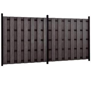 板垣根の大和張27型H1800アルミ支柱60角黒木目使用 基本セット(両柱)5段胴縁幅1.8×高1.8m目隠しウッドフェンス|yougan