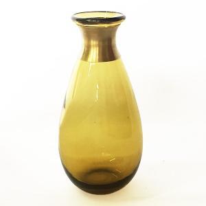 ガラスの花瓶 フラワーベース BRASSネック ウィルト(アンバー)|youngole-2