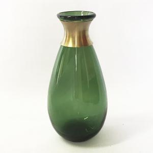 ガラスの花瓶 フラワーベース BRASSネック ウィルト(グリーン)|youngole-2