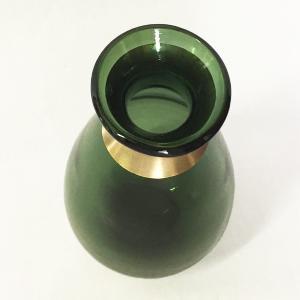 ガラスの花瓶 フラワーベース BRASSネック ウィルト(グリーン)|youngole-2|03
