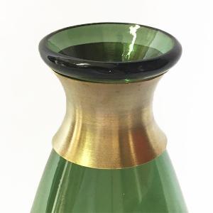 ガラスの花瓶 フラワーベース BRASSネック ウィルト(グリーン)|youngole-2|04