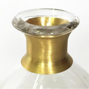 ガラスの花瓶 フラワーベース BRASSネック スウェル(クリア)|youngole-2|04