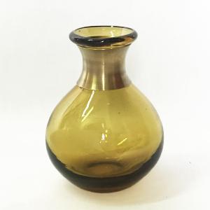 ガラスの花瓶 フラワーベース BRASSネック スウェル(アンバー)|youngole-2