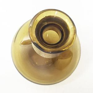 ガラスの花瓶 フラワーベース BRASSネック スウェル(アンバー)|youngole-2|03