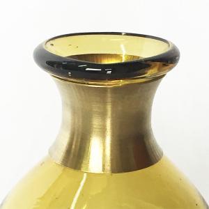 ガラスの花瓶 フラワーベース BRASSネック スウェル(アンバー)|youngole-2|04