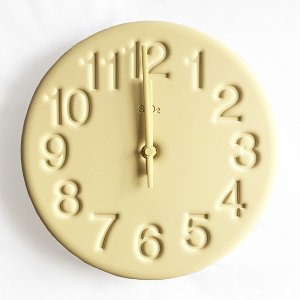 レムノス 珪藻土の時計(イエロー)|youngole-2
