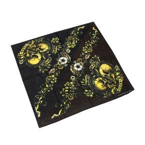 バンダナ 55×55cm ハンカチーフ 綿 正方形 スカル ハート 黒