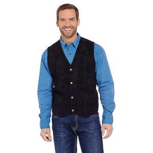 スエードレザーベスト ジレ ウェストコート メンズ ウエスタン カントリー 衣装 無地 黒 大きいサイズ S M L XL