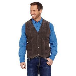 スエードレザーベスト ジレ メンズ ウエスタン カントリー 衣装 シンプル 茶色 チョコ 大きいサイズ  S M L XL