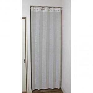 パタパタカーテン 花とストライプ柄 巾98cm×丈220cm アイボリー 29029|youplan