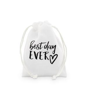 ラッピング プレゼント プチギフト用 袋 布袋 Best Day Ever 12枚セット S|yourstylewedding