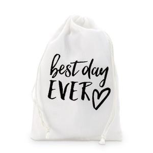 ラッピング プレゼント プチギフト用 袋 布袋 Best Day Ever 12枚セット M|yourstylewedding