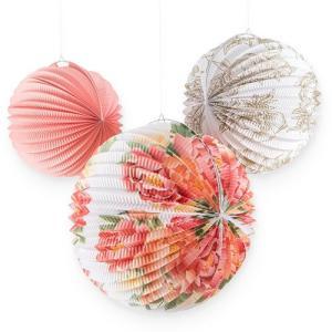 ペーパーランタン ちょうちん 花柄 3デザイン 3個セット 折りたたみ アコーディオン メール便可|yourstylewedding