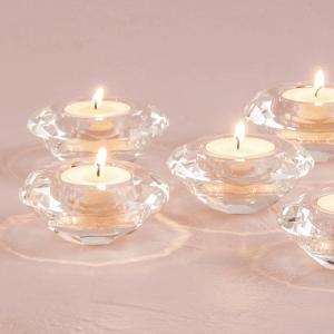 キャンドルホルダー クリスタルガラス ティーライトキャンドル用 ダイヤモンドカット 6個セット|yourstylewedding