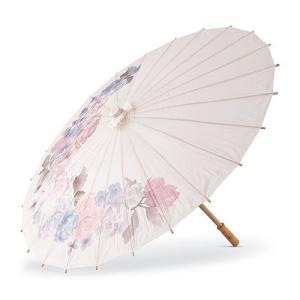 和傘 ペーパーパラソル 紙傘 白地に花柄 撮影や装飾に|yourstylewedding