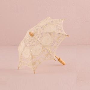 日傘 レース パラソル ミニサイズ アイボリー オフホワイト 生成り 結婚式 撮影 前撮り用|yourstylewedding