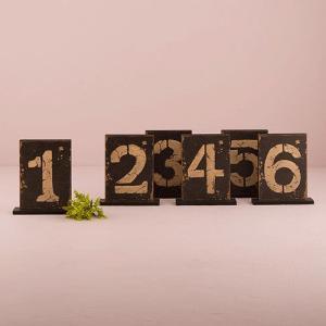卓記号 テーブル番号 アンティーク加工 木製 6個セット|yourstylewedding