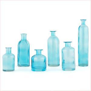 装飾用 ブルーのびん デコレーション 撮影に ヴィンテージボトル 青 6種類セット|yourstylewedding