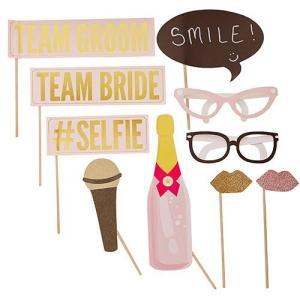 フォトプロップス Team Groom Team Bride マイク シャンパングラス メガネ 唇 yourstylewedding