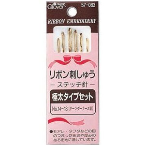 リボンが通しやすい長い針孔。 用途やリボンのタイプに応じて、よく使うサイズをセット。 ノーマルポイン...