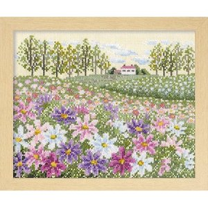 オリムパス製絲 クロスステッチ 刺しゅうキット フラワーガーデン 花の咲く風景 コスモスの丘 ベージュ 7310|yousaihoriuchi