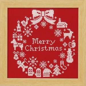 オリムパス製絲 クリスマス クロスステッチししゅうキット クリスマスリース X-100 レッド|yousaihoriuchi