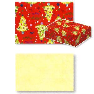 クリスマス用 個人用包装紙 アーバンツリー レッド・赤 & IP薄葉紙 淡黄色・うすイエロー セット|yousay-do