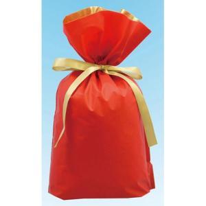 梨地リボン付き巾着袋 レッド×ゴールド LLサイズ 20枚セット|yousay-do