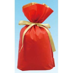 梨地リボン付き巾着袋 レッド×ゴールド Lサイズ 20枚セット|yousay-do