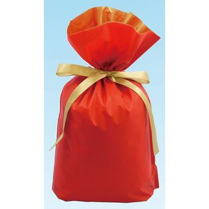梨地リボン付き巾着袋 レッド×ゴールド Sサイズ 20枚セット|yousay-do