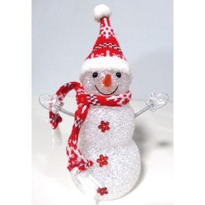 クリスマス用 飾り スノーマン 3段 レッド 6インチ 内蔵ライトで光る雪だるま人形です|yousay-do