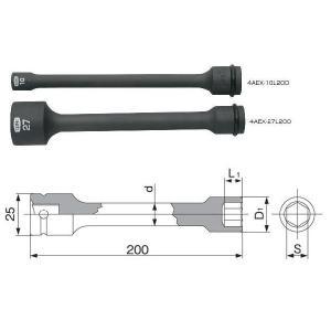 TONEインパクト用エクステンションソケット4AEX-21L200(21mm)