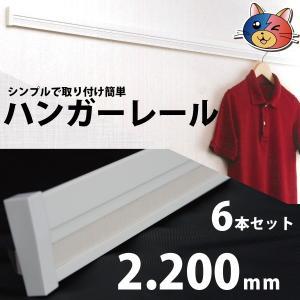 ハンガーレール[機能性長押・なげし]2200mm×55×16 6本セット 壁に取り付けるダケ簡単設置【送料無料】02839|youzyou