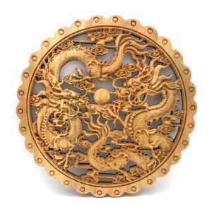 木製 双龍の円盤|yowado