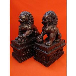 獅子の置物 一対 銅製|yowado|02