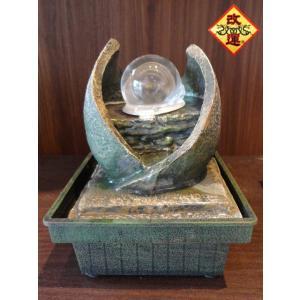 招財龍穴水盤 慈しみ型 レインボー水晶玉付き|yowado