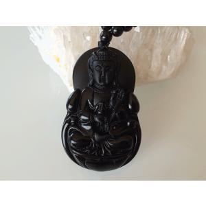 観音彫刻 オブシディアンペンダント|yowado