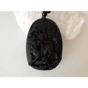麒麟彫刻 オブシディアンペンダント|yowado