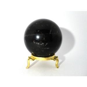 黒水晶 モリオン丸玉 台座付 64mm  強力な魔除け、厄除け、精神安定に|yowado
