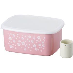 和平フレイズ 保存容器 漬物 ぬか漬け ホーロー容器 さくら日和 角型 水抜き容器付 SM-9721