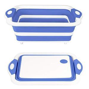 QIMHUI 洗い桶 折りたたみ 水切りかご排水機能付き 8.5L超大容量 ハンドル付き洗い桶屋内外...