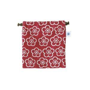 巾着小(梅柄)日本製 綿100% ジャカード織 伝統 米沢織 米織 小紋柄 和柄 お化粧ポーチ 小物入れ 充電器 松竹梅 紅白|yozando-y