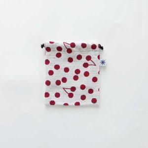巾着小(山形限定)日本製 綿100% ジャカード 伝統 米沢織 小紋 和 小物 お薬 充電器 ドット 水玉 桜桃|yozando-y