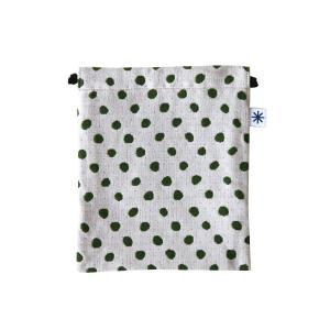 巾着中(豆絞り柄)日本製 綿100% ジャカード織 米沢織 米織 小紋柄 和柄 お化粧ポーチ 小物入れ デジカメ 音楽プレイヤー 充電器 ドット|yozando-y