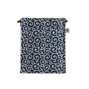 巾着中(唐草柄)日本製 綿100% ジャカード織 米沢織 米織 小紋柄 和柄 お化粧ポーチ 小物入れ デジカメ 音楽プレイヤー 充電器|yozando-y